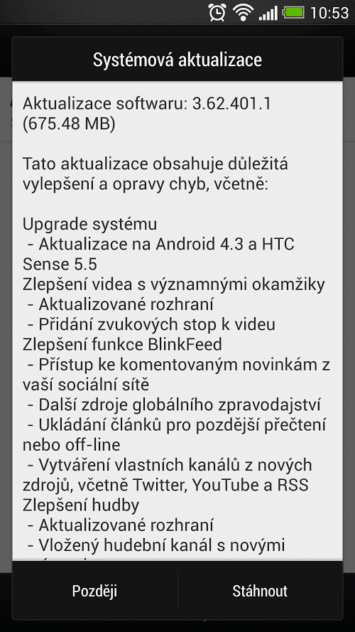 Aktualizace Android 4.3 na HTC One