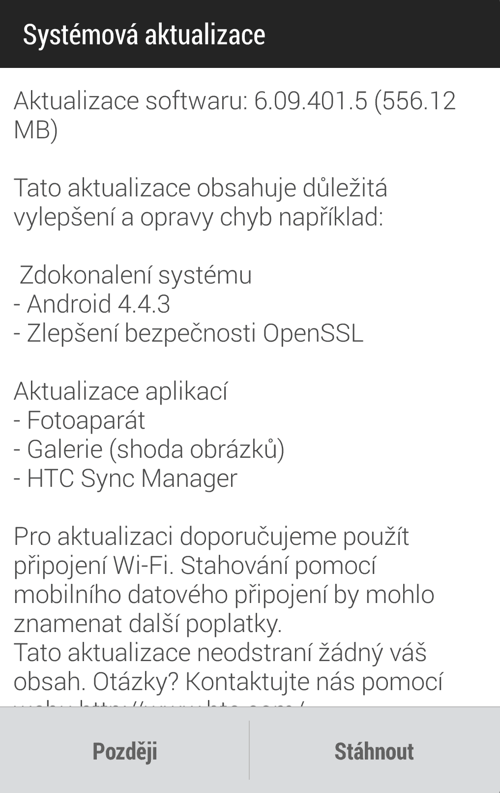 Aktualizace 4.4.3 HTC One M7