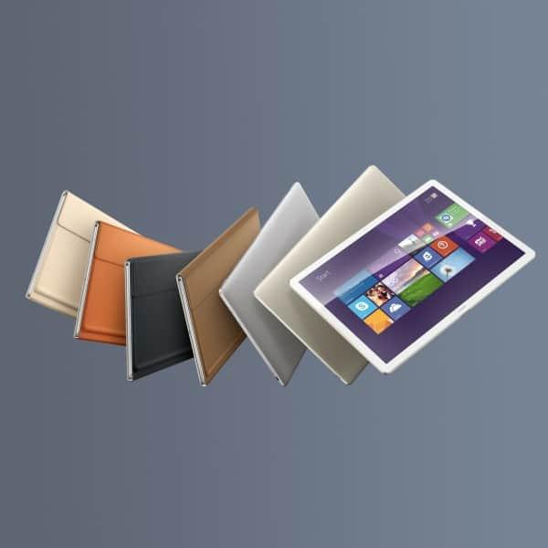 MateBook ve všech barvách vč. krytů. Samotný MateBook bude dostupný v šedé a zlaté barvě