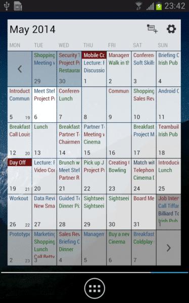 Bussines Calendar - měsíční přehled