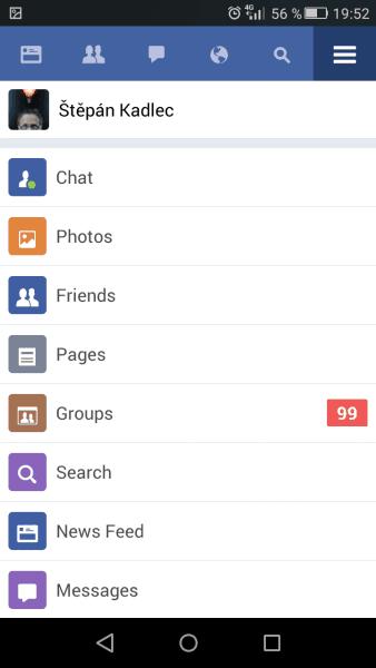 Přehledné menu záložek v aplikaci Lite