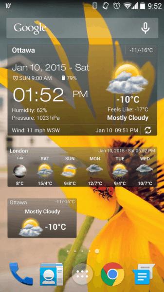 Počasí & Clock - widget může mít mnoho podob