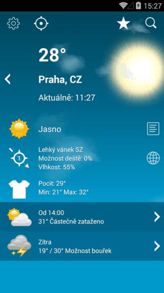 Počasí XL Pro - aplikace