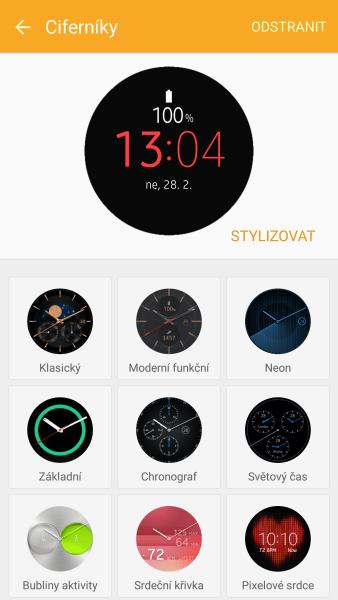 Vyměnit ciferník můžete i přes aplikaci Samsung Gear
