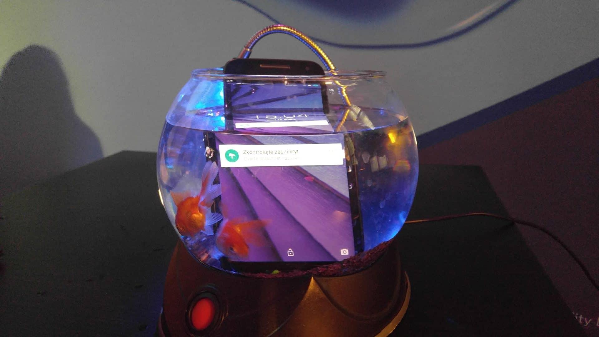 Vodotěsnost byla demonstrována na akváriu s rybičkou
