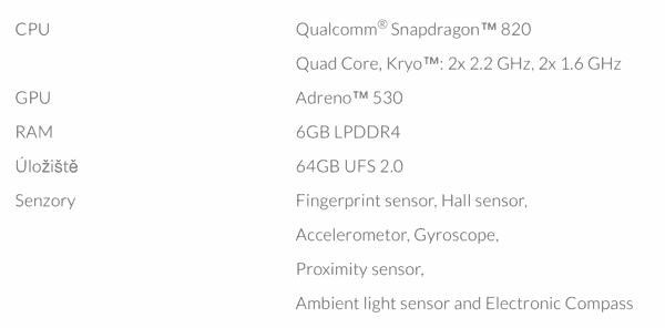 Oneplus 3 Specifikace
