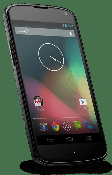 Smartphone Google Nexus 4 s Androidem 4.2 Jelly Bean.