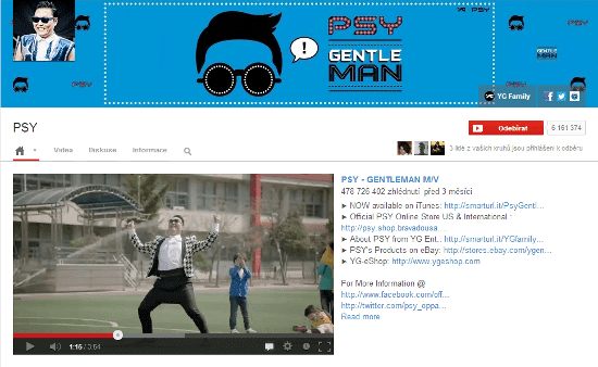PSY Youtube kanal
