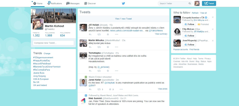 Obrazovka Twitteru