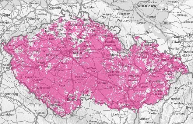 Mapa pokryti LTE T-Mobile