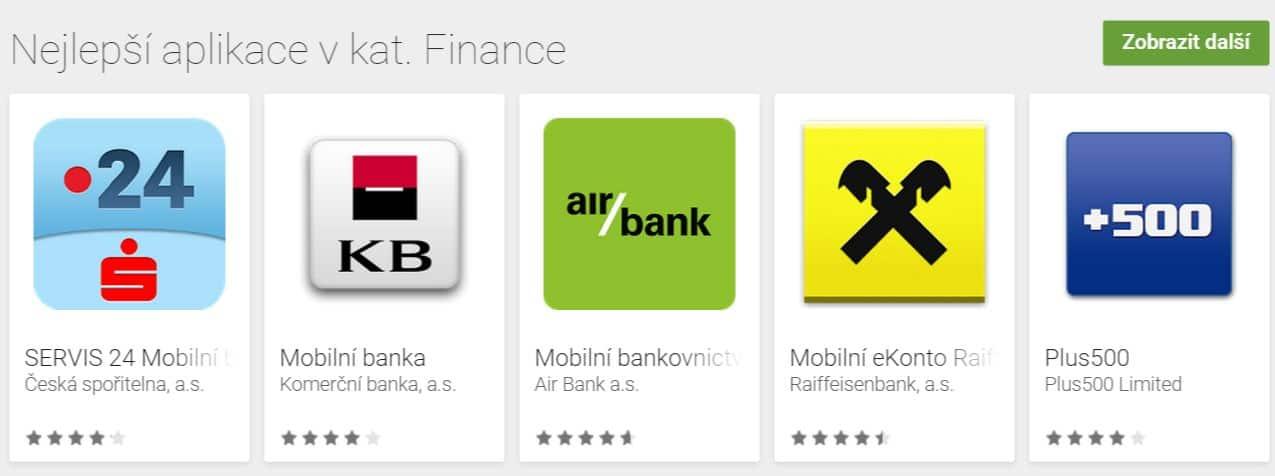Nejlepší aplikace v kategorii Finance jsou aplikace mobilního bankovnicví