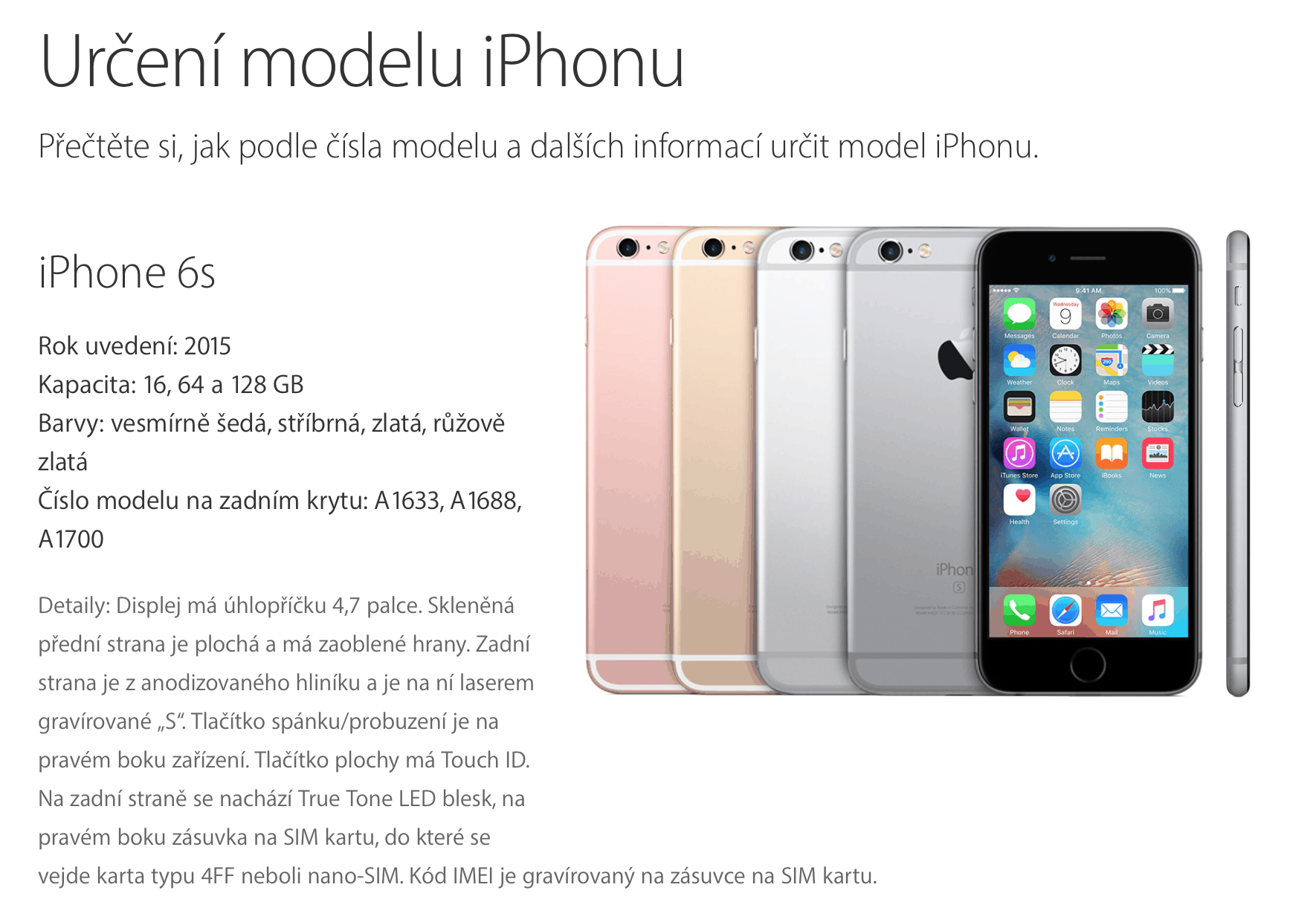 Urceni modelu iPhone SCR