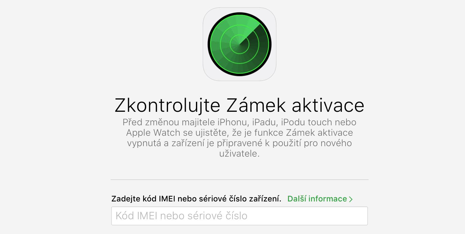 Zamek aktivace iPhone