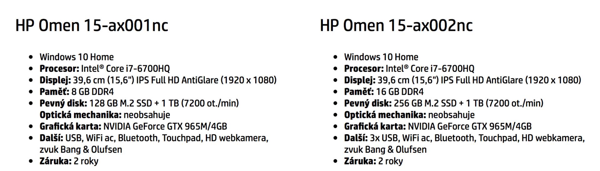 HP Omen Specifikace