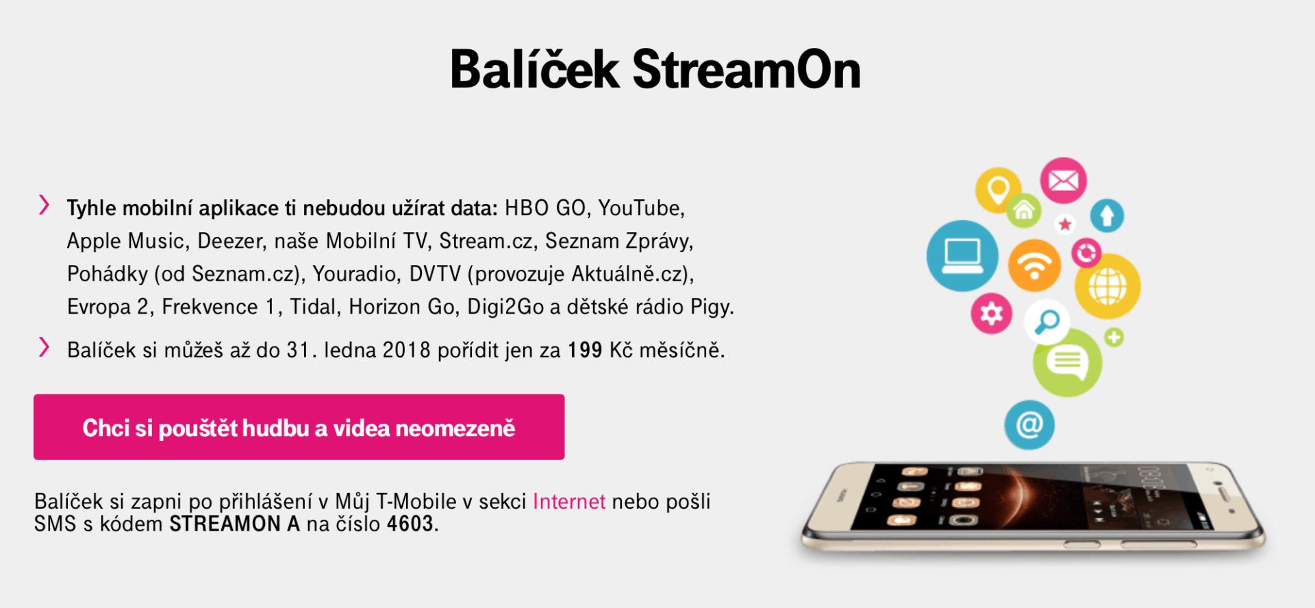 Neomezené streamování hudby a videa za 199 Kč měsíčně: T-Mobile StreamOn