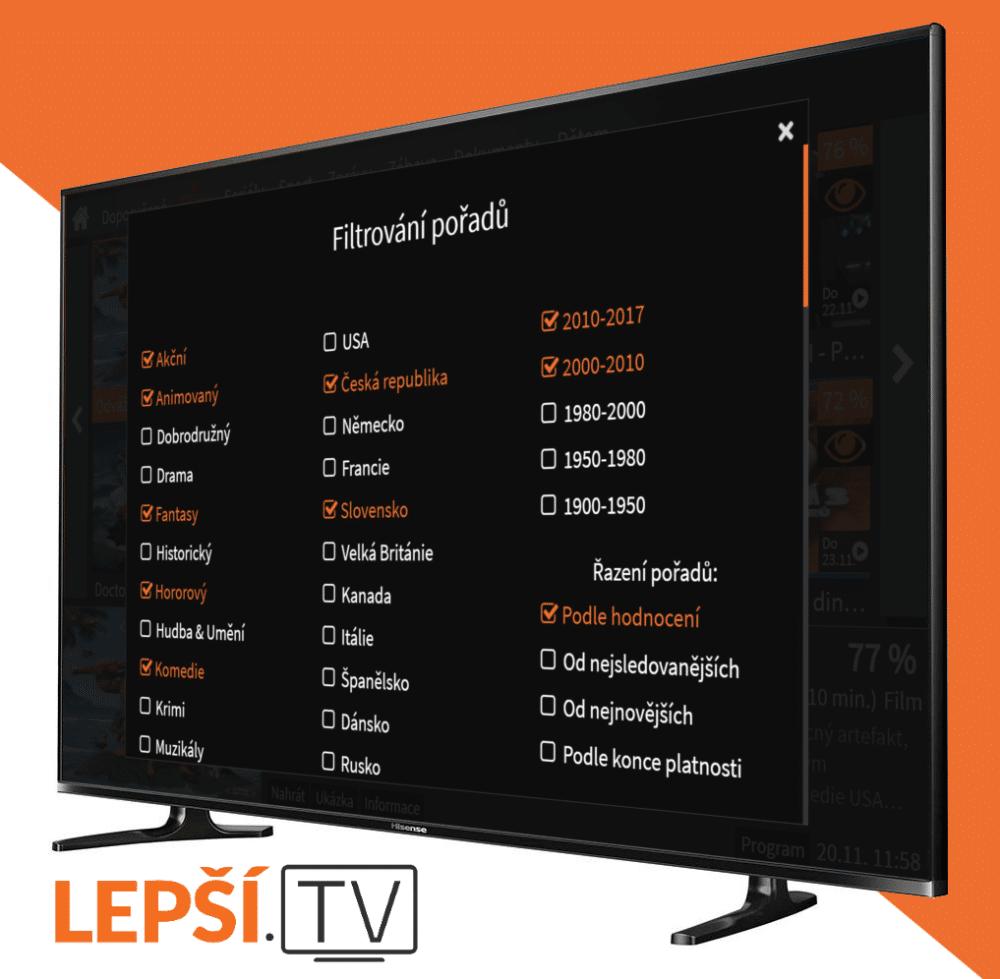 Internetová televize přichází s další novinkou v podobě třídění pořadů: Lepší.TV