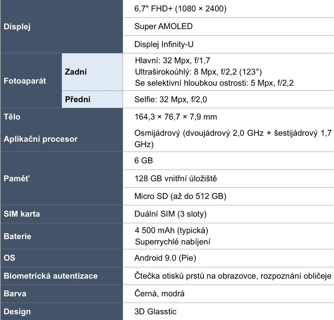 Galaxy A70 specifikace