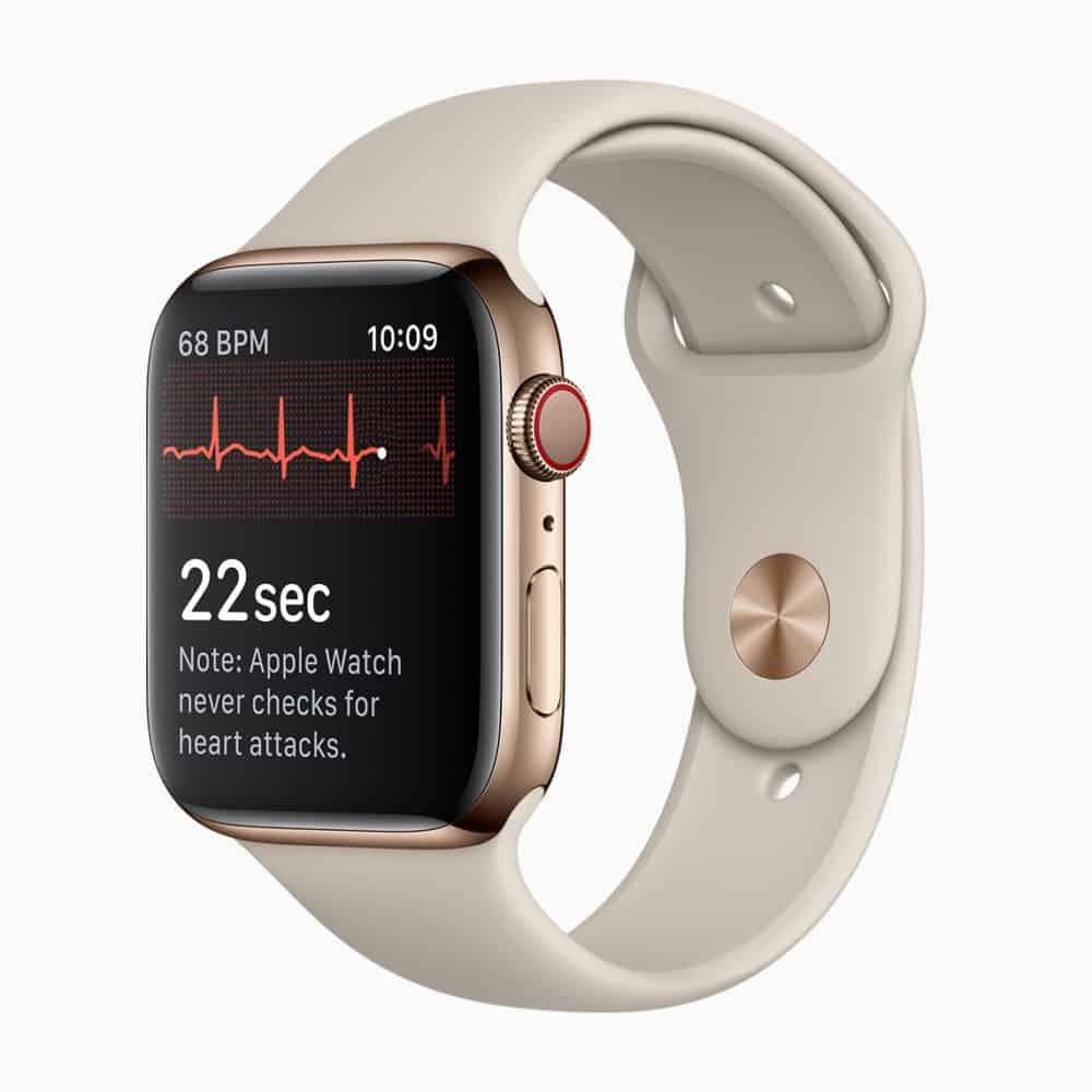 Apple Watch Series 4 zobrazující sinusový rytmus