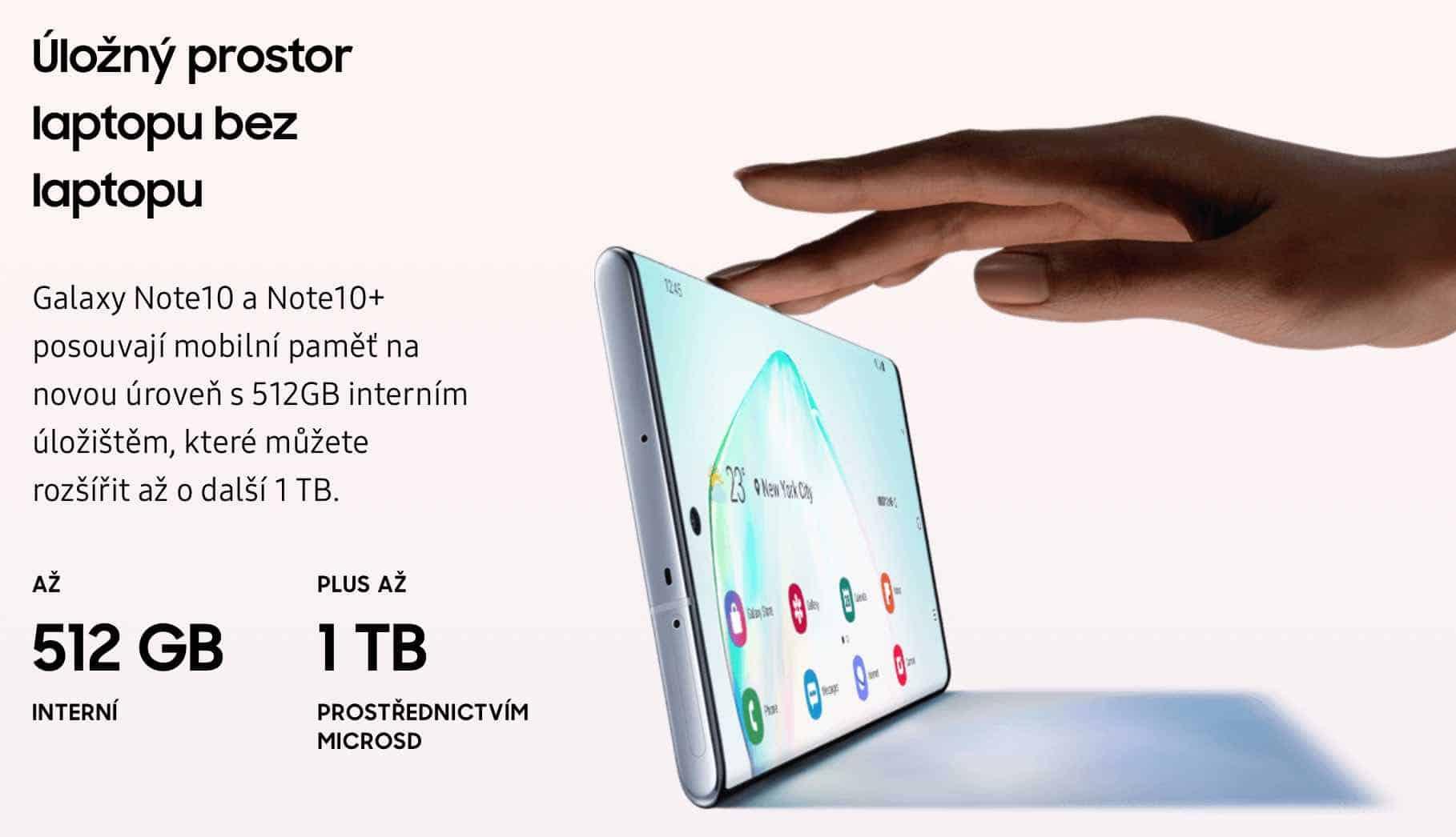 Představujeme smartphone Galaxy Note 10. Úložný prostor až 1TB