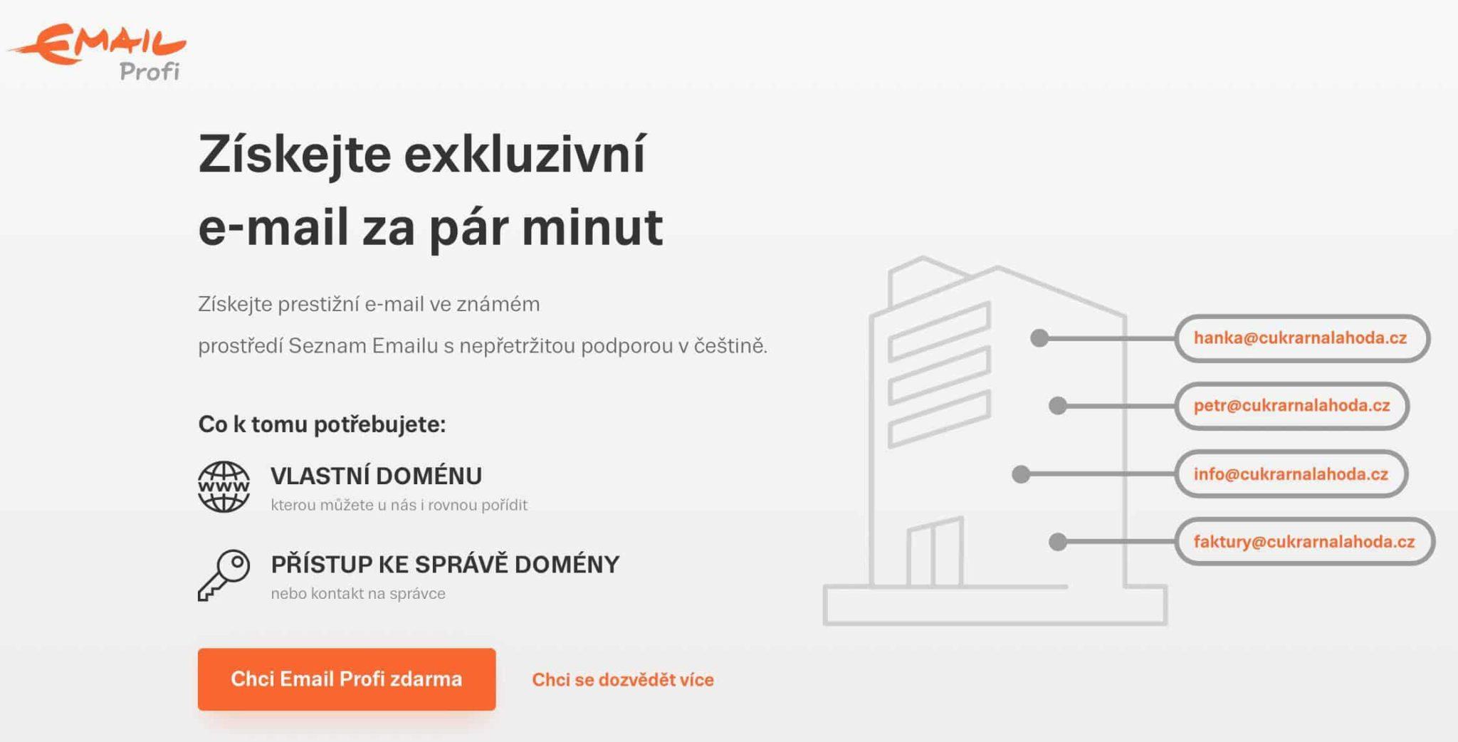 Seznam.cz nabízí i službu Email Profi