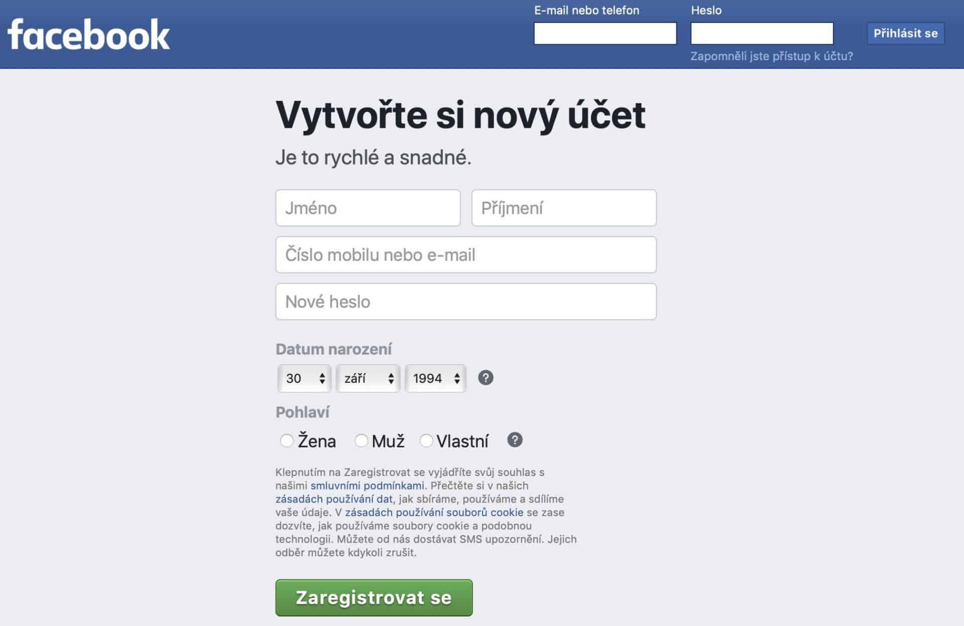 facebook registrace a prihlaseni