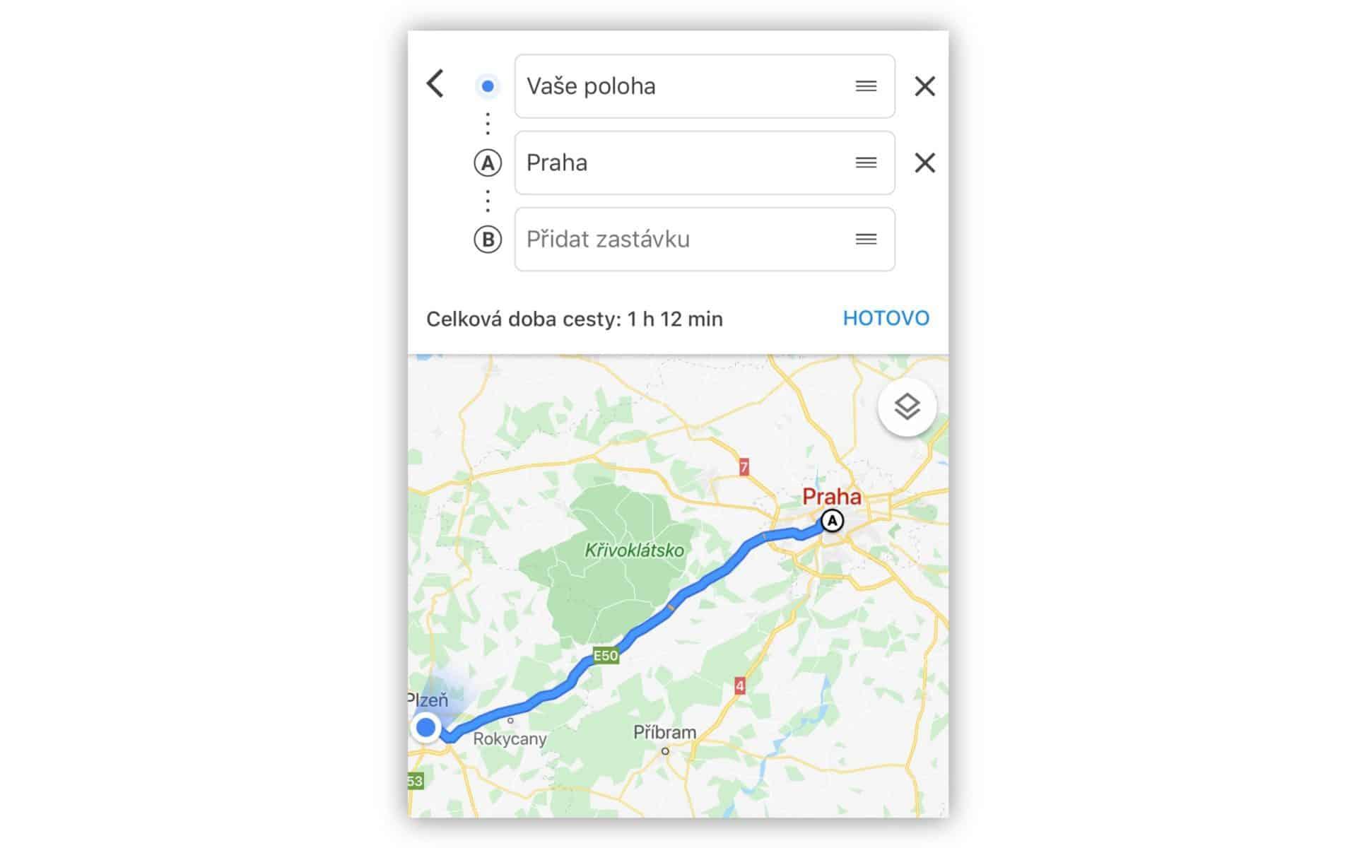 Započítání zastávek do trasy